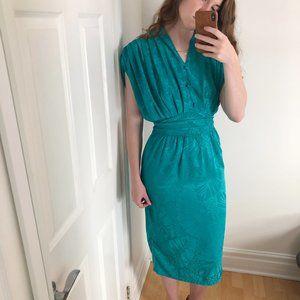 Stunning Vintage Made in France Draped Midi Dress